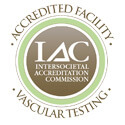 Image of the Intersocietal Accreditation Commission accredited vascular testing facility logo.