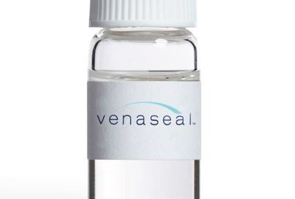 vial of clear venaseal adhesive with lable